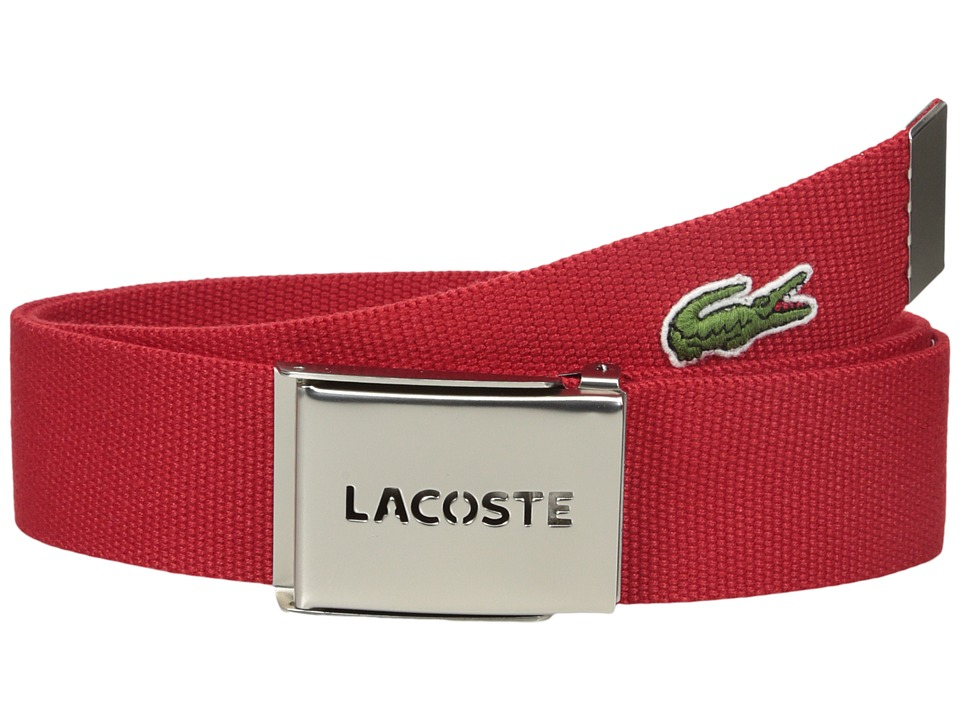 Lacoste 40mm Gift Box Woven Strap Red Mens Belts
