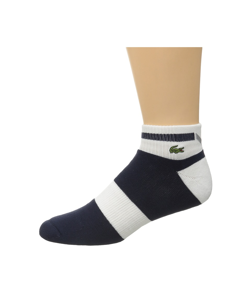 Lacoste Sport Compression Ped Sock Navy Blue/White/Navy Blue Mens Quarter Length Socks Shoes