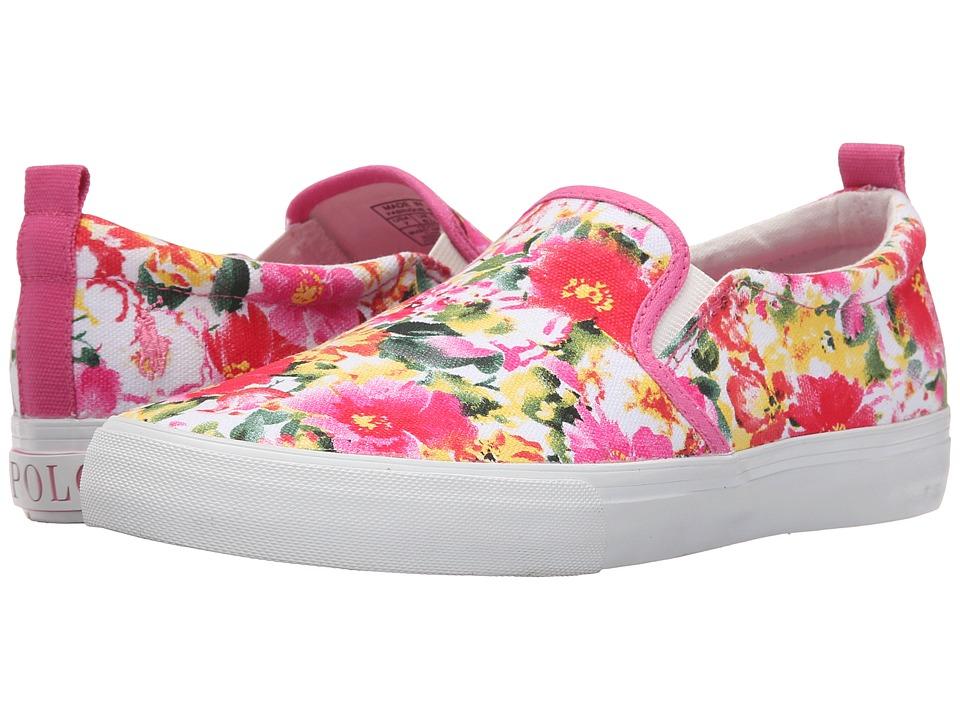 Polo Ralph Lauren Kids Carlee Twin Gore Little Kid/Big Kid Pink Floral Girls Shoes