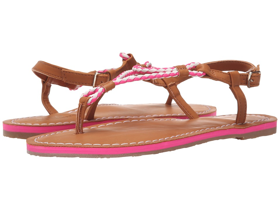 Polo Ralph Lauren Kids Alexis Little Kid/Big Kid Neon Pink Eva/Braided Thong Girls Shoes
