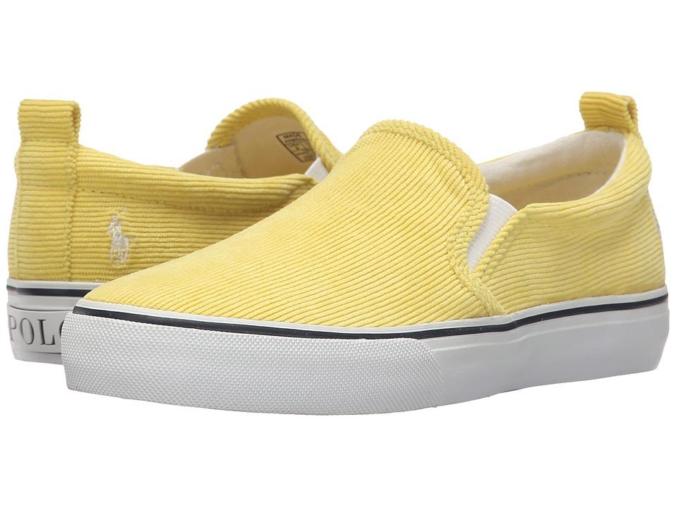 Polo Ralph Lauren Kids Carlee Twin Gore Little Kid/Big Kid Neon Yellow Corduroy Girls Shoes