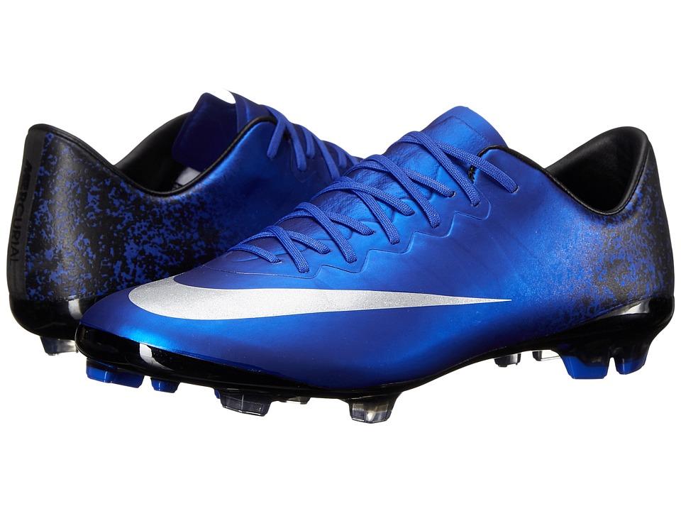 Nike Kids Jr Mercurial Vapor X CR FG Soccer Big Kid Deep Royal Blue/Racer Blue/Black/Metallic Silver Kids Shoes