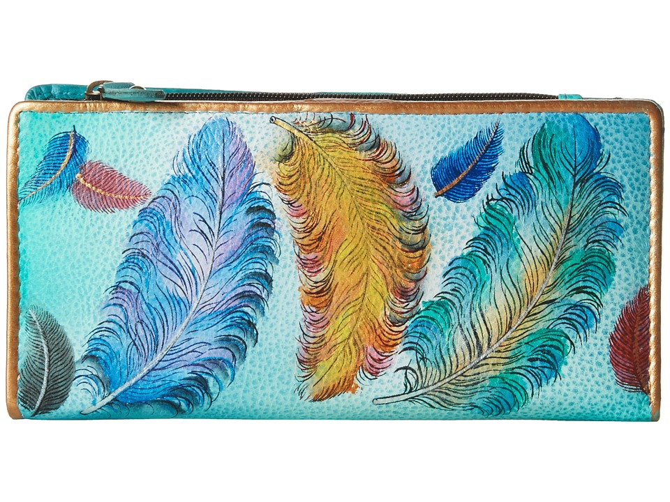 Anuschka Handbags 1088 Clutch Wallet (Floating Feathers) Clutch Handbags