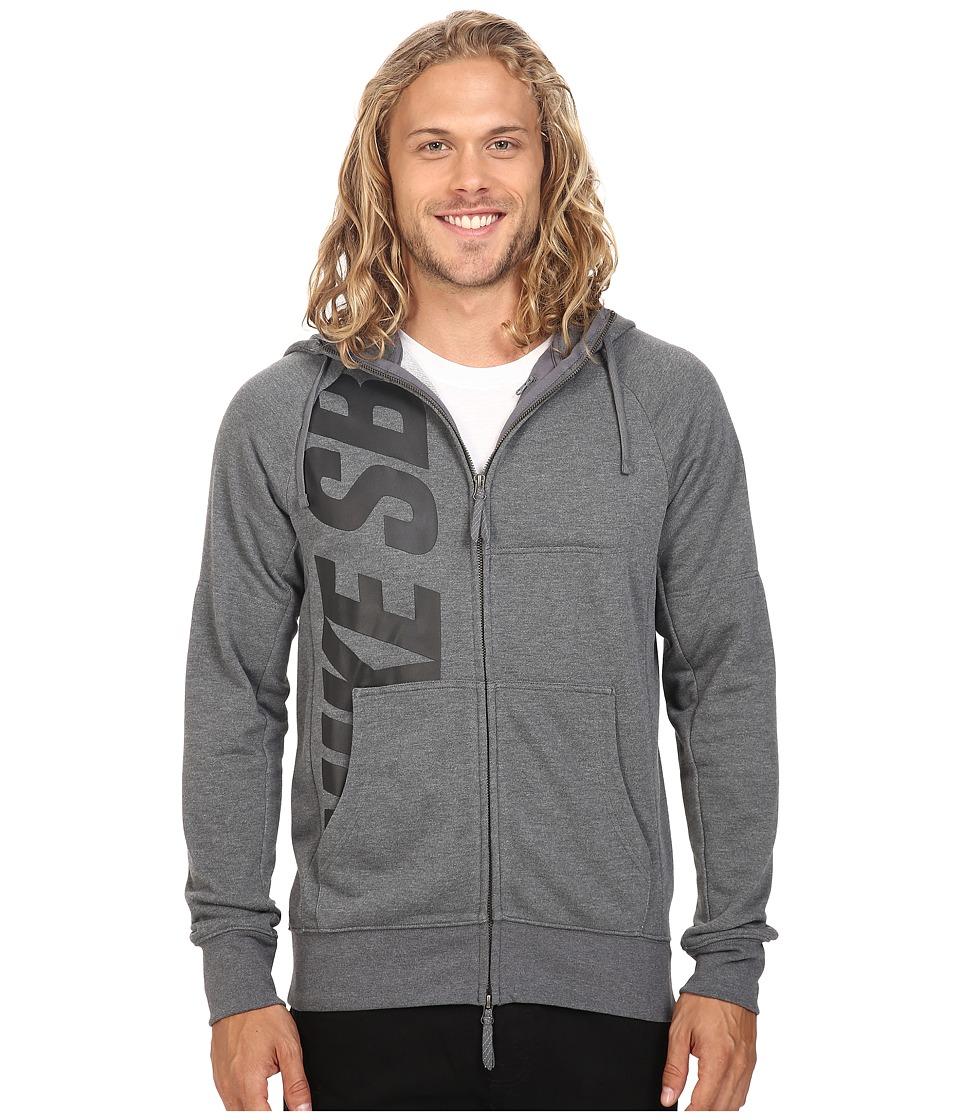 Nike SB - SB Lightweight Everett Dri-FIT Full Zip Hoodie (Charcoal Heather/Black) Men