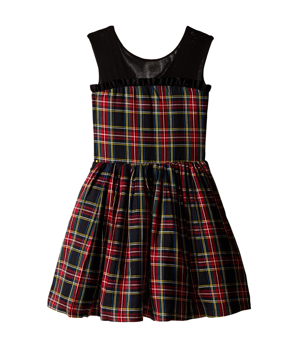 fiveloaves twofish - Winter Tartan Party Dress (Little Kids/Big Kids) (Black) Girls Dress