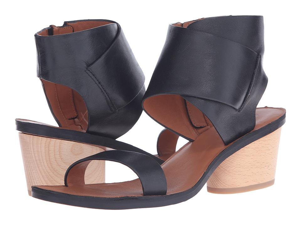 10 Crosby Derek Lam Antonia Black Soft Calf Vacchetta Womens Sandals