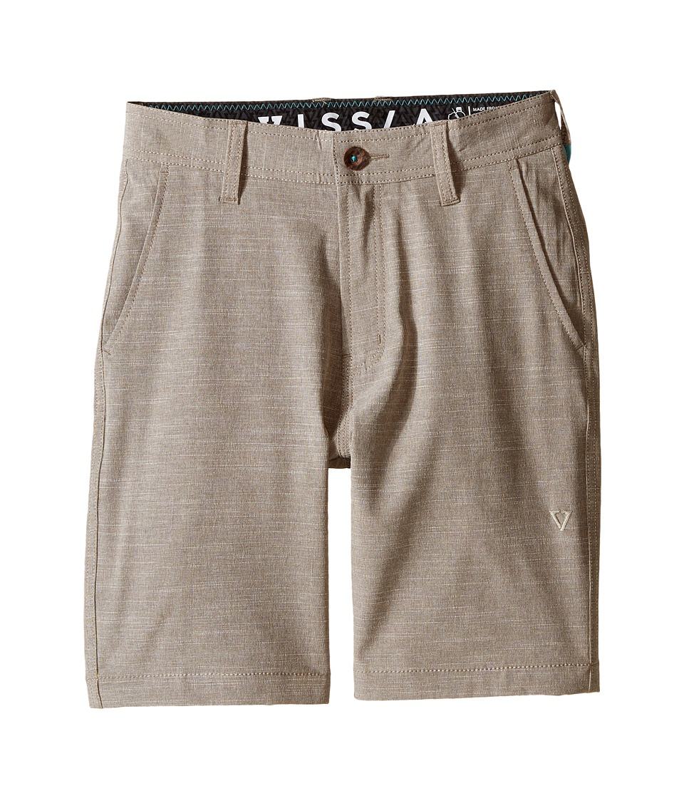 VISSLA Kids Fin Rope 4 Way Stretch Hybrid Walkshorts 17.5 Big Kids Dark Khaki Boys Shorts