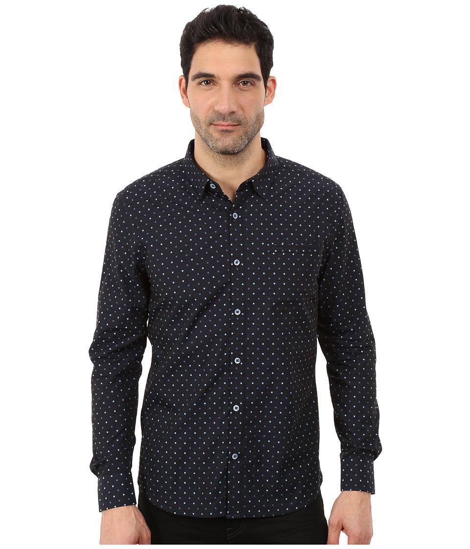 7 Diamonds Blue Chip Long Sleeve Shirt Navy Mens Long Sleeve Button Up