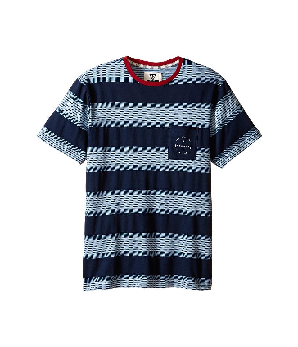 VISSLA Kids Rights Lefts Short Sleeve Pocket Tee Big Kids Dark Navy Boys T Shirt