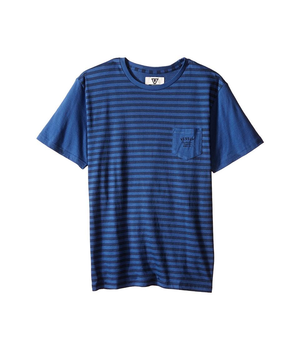 VISSLA Kids Stacked Lines Pocket Tee Big Kids Light Navy Boys T Shirt