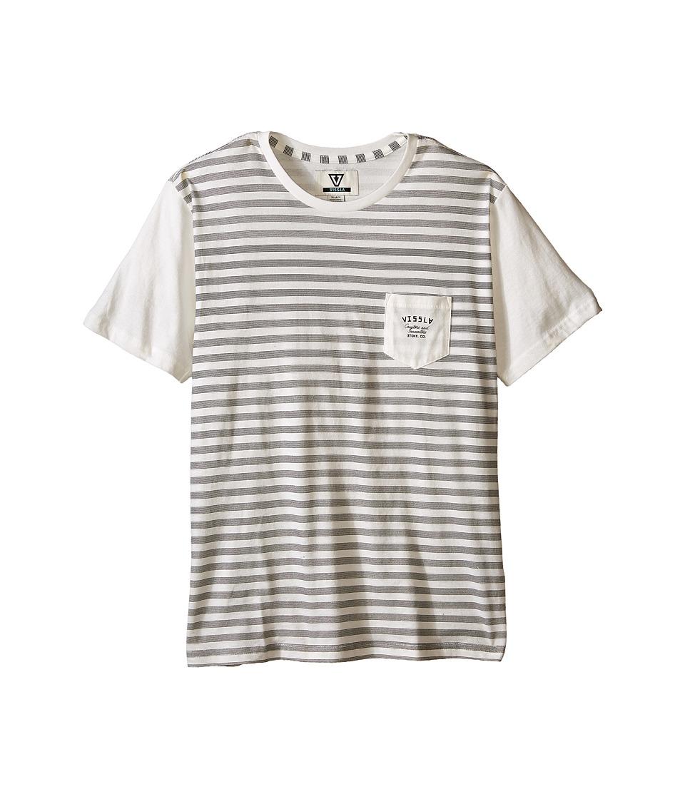 VISSLA Kids Stacked Lines Pocket Tee Big Kids Vintage White Boys T Shirt
