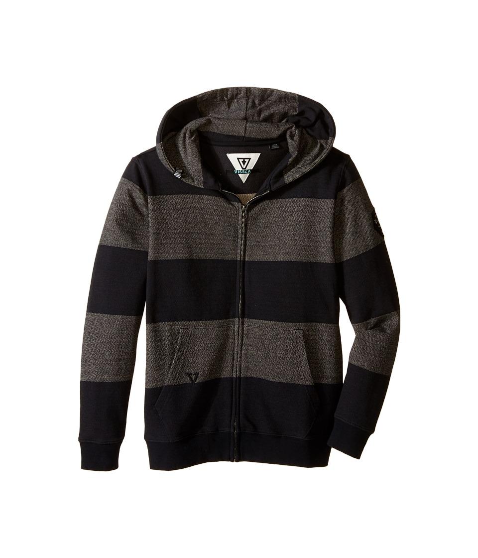 VISSLA Kids New Pier Zip Hoodie Big Kids Black Boys Sweatshirt