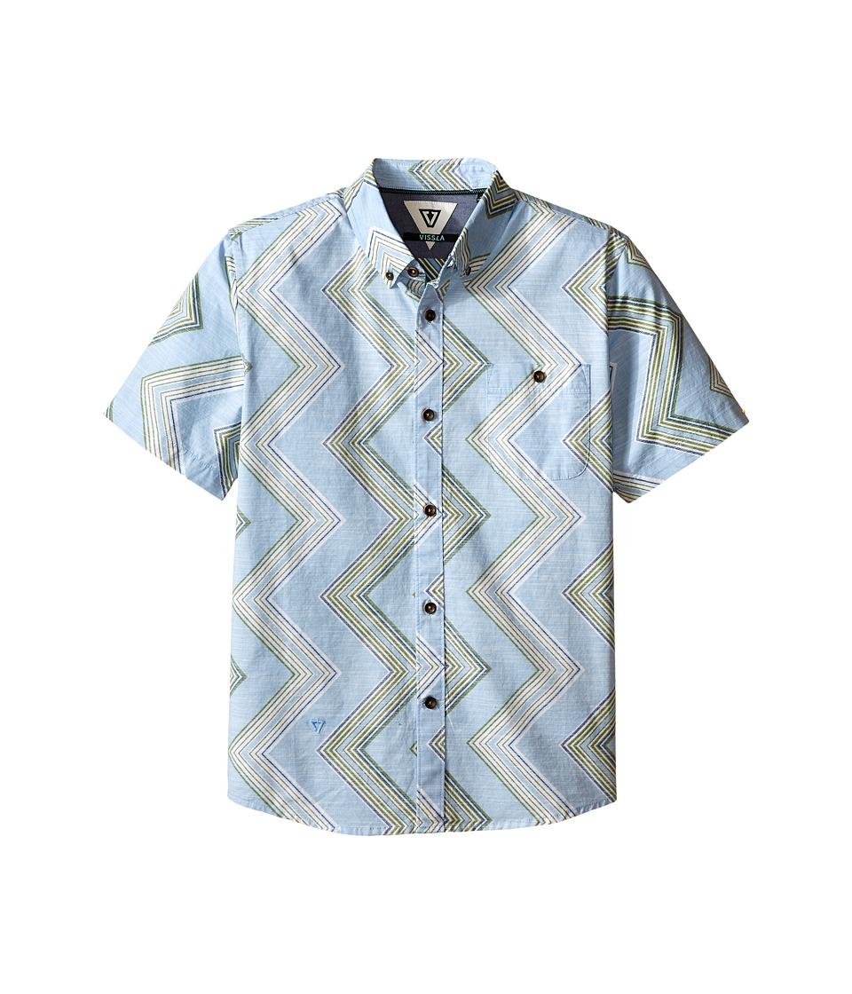 VISSLA Kids Raised By Waves Short Sleeve Woven Shirt Big Kids Coastal Blue Boys Short Sleeve Button Up