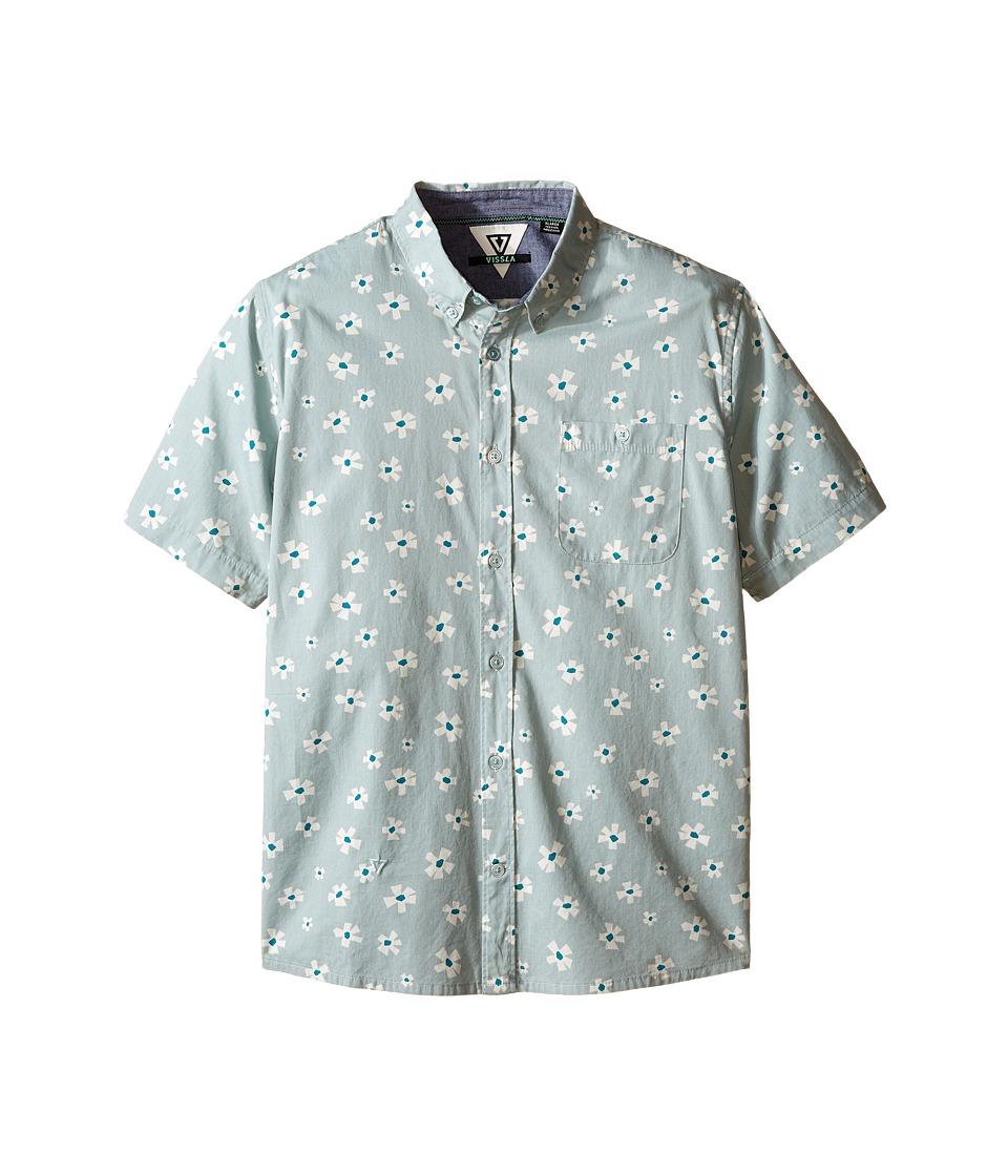 VISSLA Kids Outer Pool Short Sleeve Woven Shirt Big Kids Agave Boys Short Sleeve Button Up