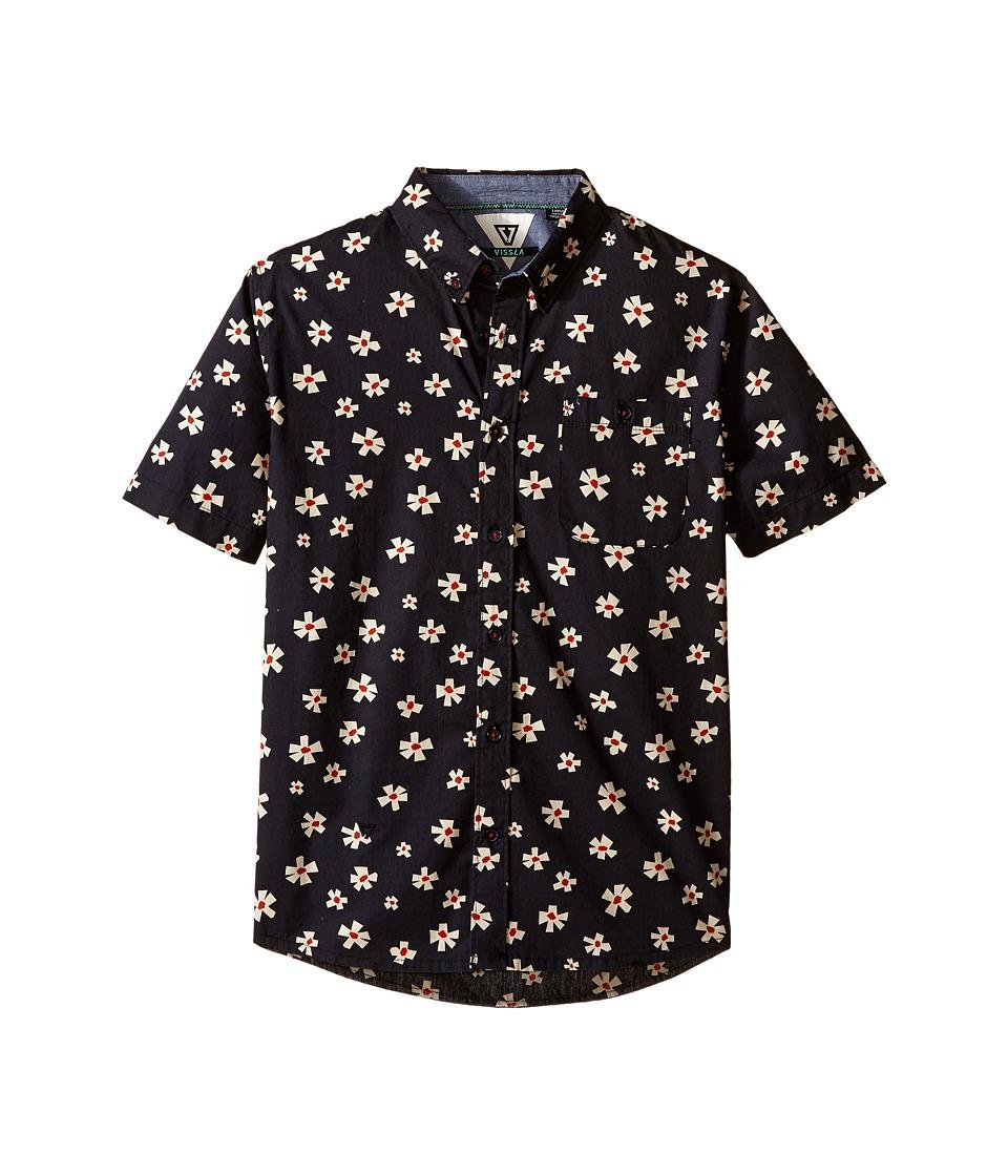 VISSLA Kids Outer Pool Short Sleeve Woven Shirt Big Kids Black Boys Short Sleeve Button Up