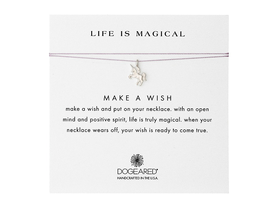 Dogeared Life Is Magical Unicorn Make A Wish Necklace Sterling Silver/Lavender Necklace