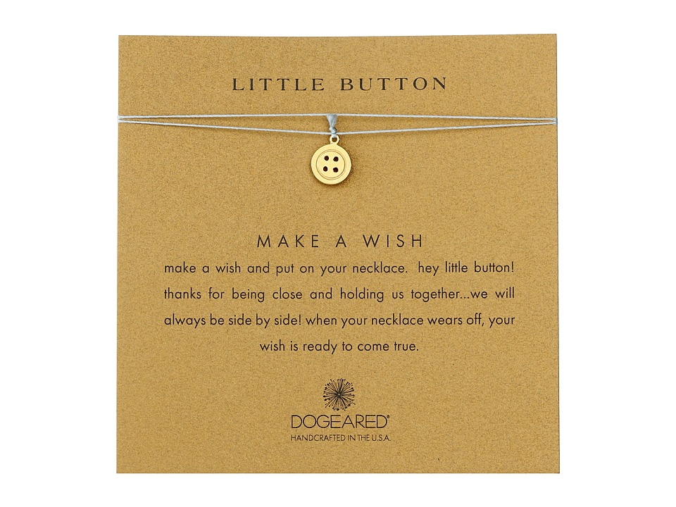 Dogeared Little Button Make A Wish Necklace Gold Dipped/Mint Necklace