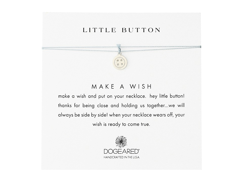 Dogeared Little Button Make A Wish Necklace Sterling Silver/Mint Necklace