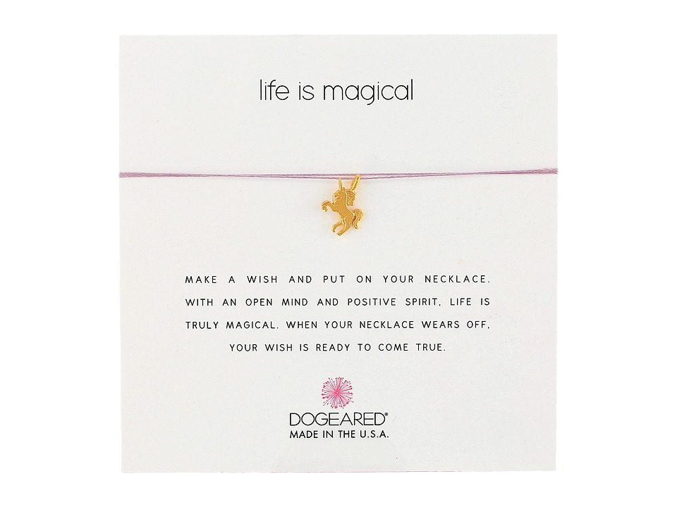 Dogeared Life Is Magical Unicorn Make A Wish Necklace Gold Dipped/Lavender Necklace