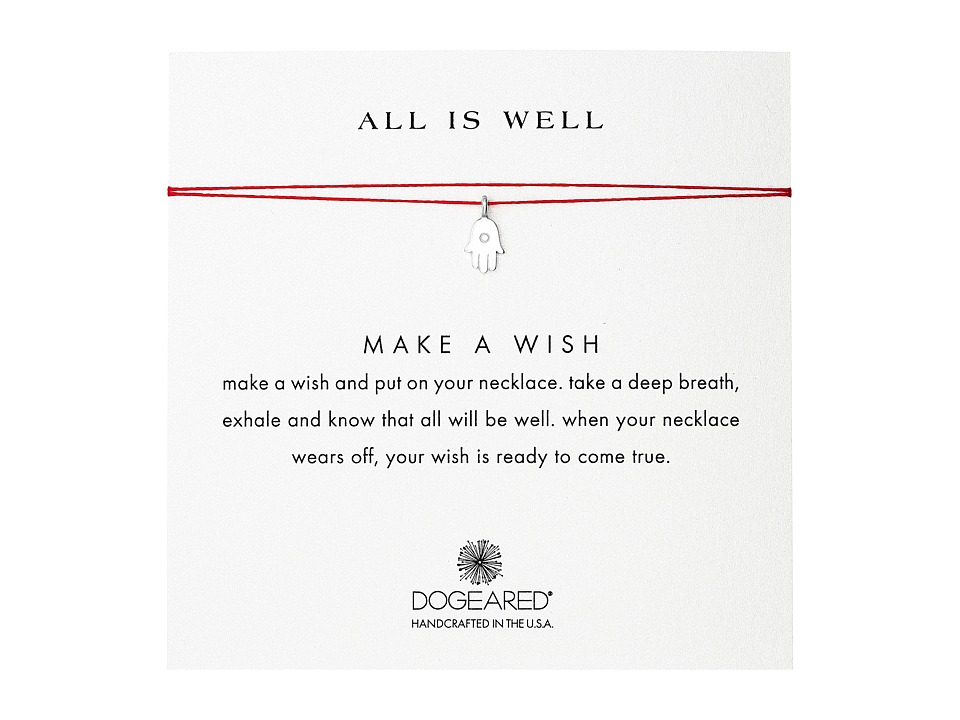 Dogeared All Is Well Hamsa Make A Wish Necklace Sterling Silver/Red Necklace