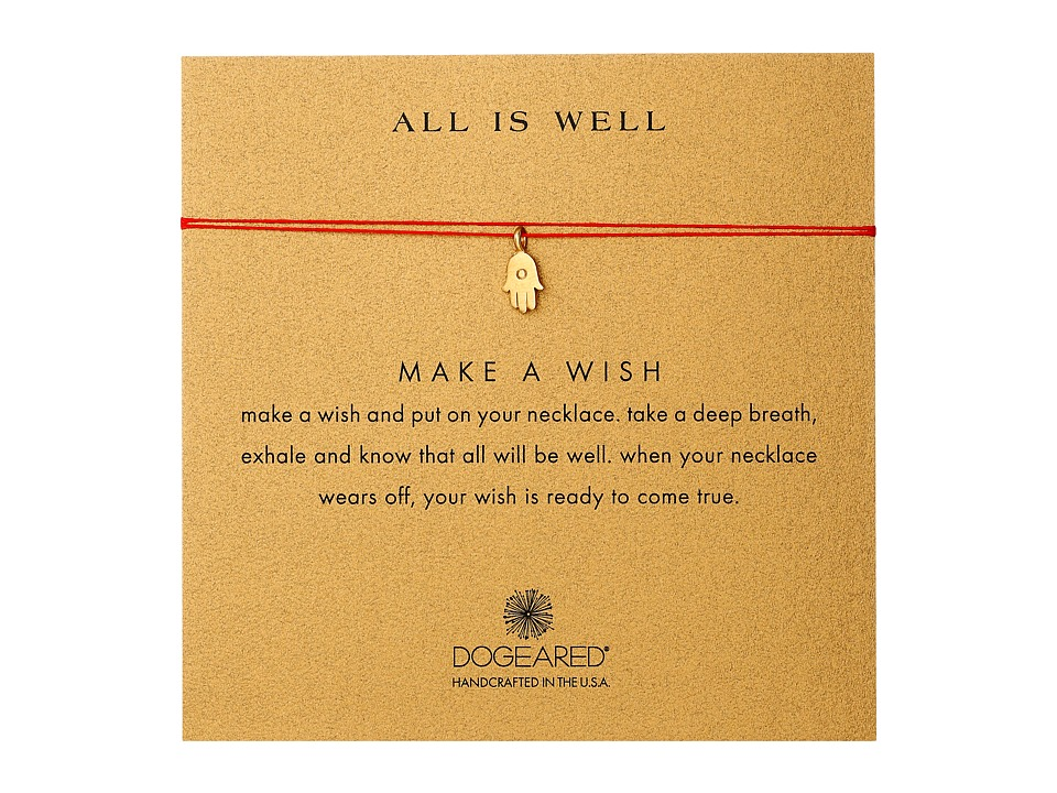 Dogeared All Is Well Hamsa Make A Wish Necklace Gold Dipped/Red Necklace