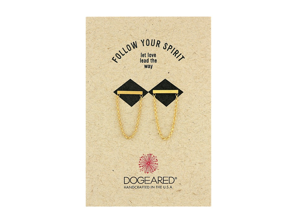 Dogeared Medium Bar with Chain Loop Earrings Gold Dipped Earring