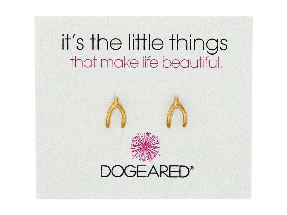 Dogeared Its the Little Things Wishbone Studs Earrings Gold Dipped Earring