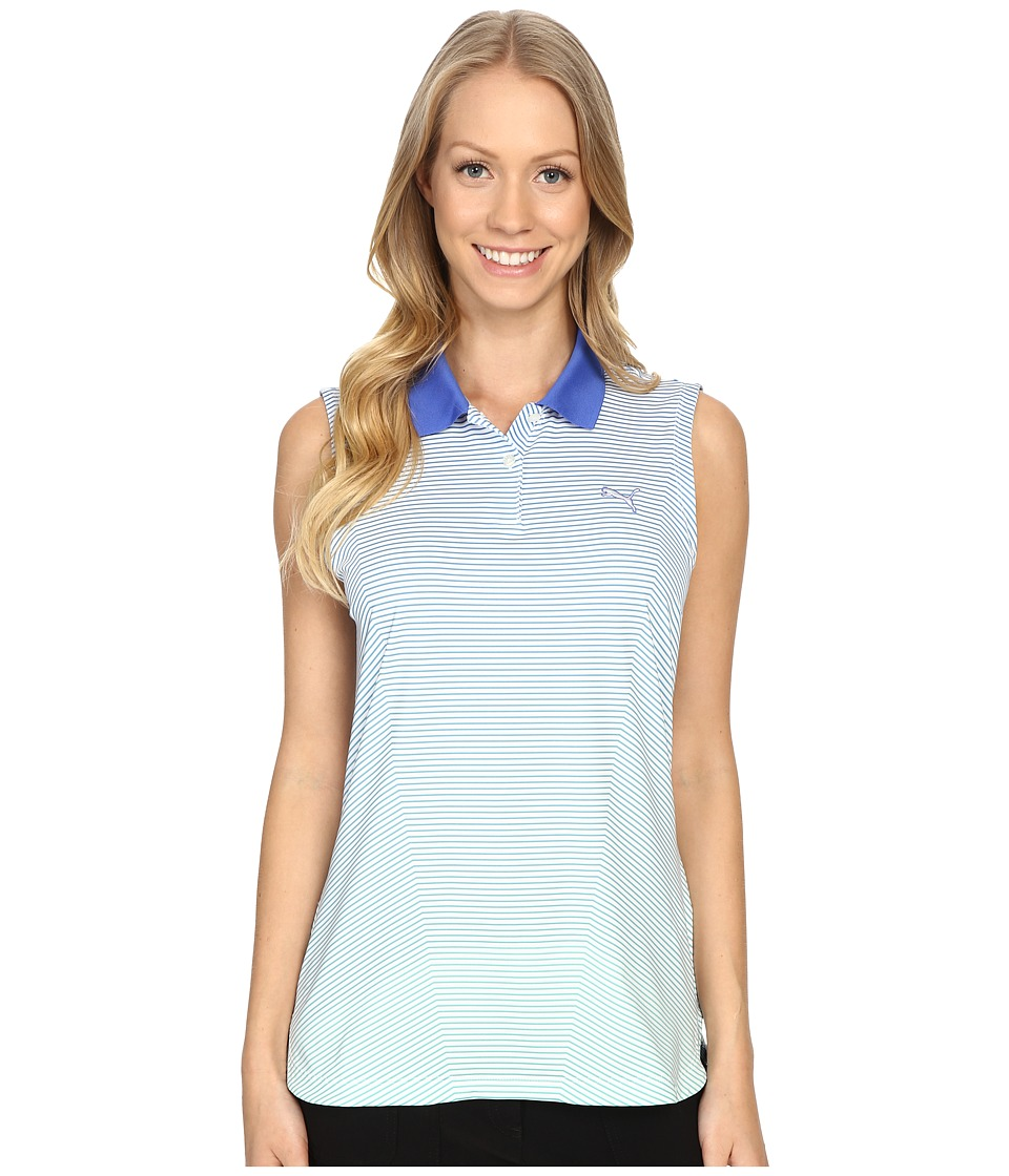 PUMA Golf 3D Stripe Sleeveless Polo Dazzling Blue Womens Sleeveless