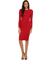 Maggy London - Medallion Burnout Jacquard Long Sleeve Sheath