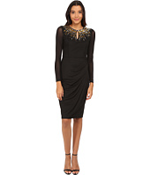 Maggy London - Chiffon Jersey Long Sleeve Sheath with Neck Embellishment