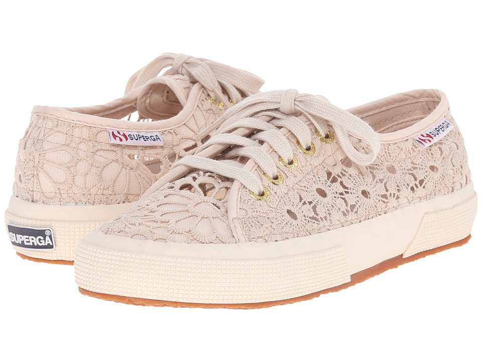 Superga 2750 Cotmacramew Beige Womens Lace up casual Shoes