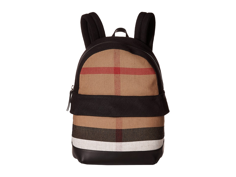 Burberry Kids Tiller Check Backpack (Black) Backpack Bags