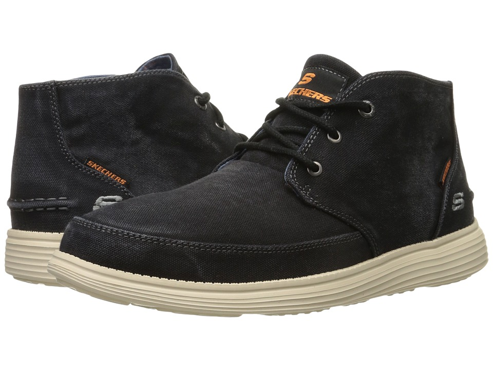 SKECHERS - Relaxed Fit Status - Altone (Black Washed Canvas) Men