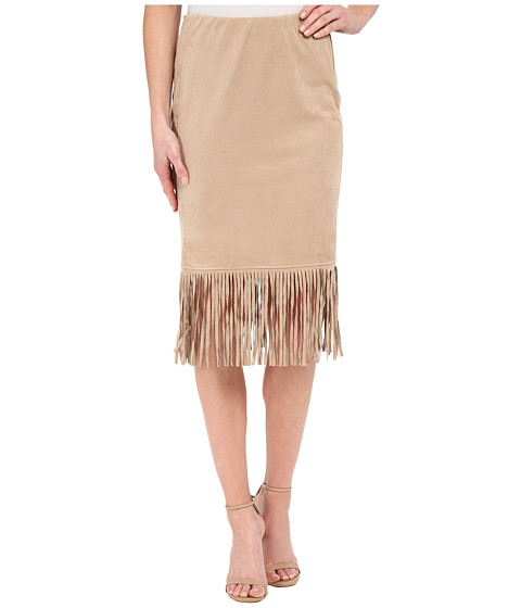 B Collection by Bobeau Faux Suede Fringe Skirt