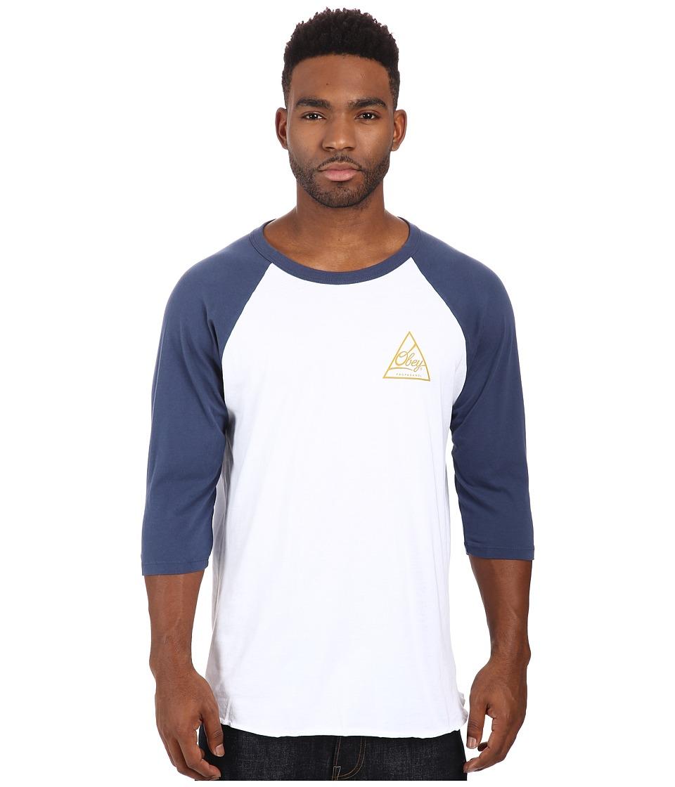 Obey - Next Round 2 Premium Raglan Top (White/Navy) Men