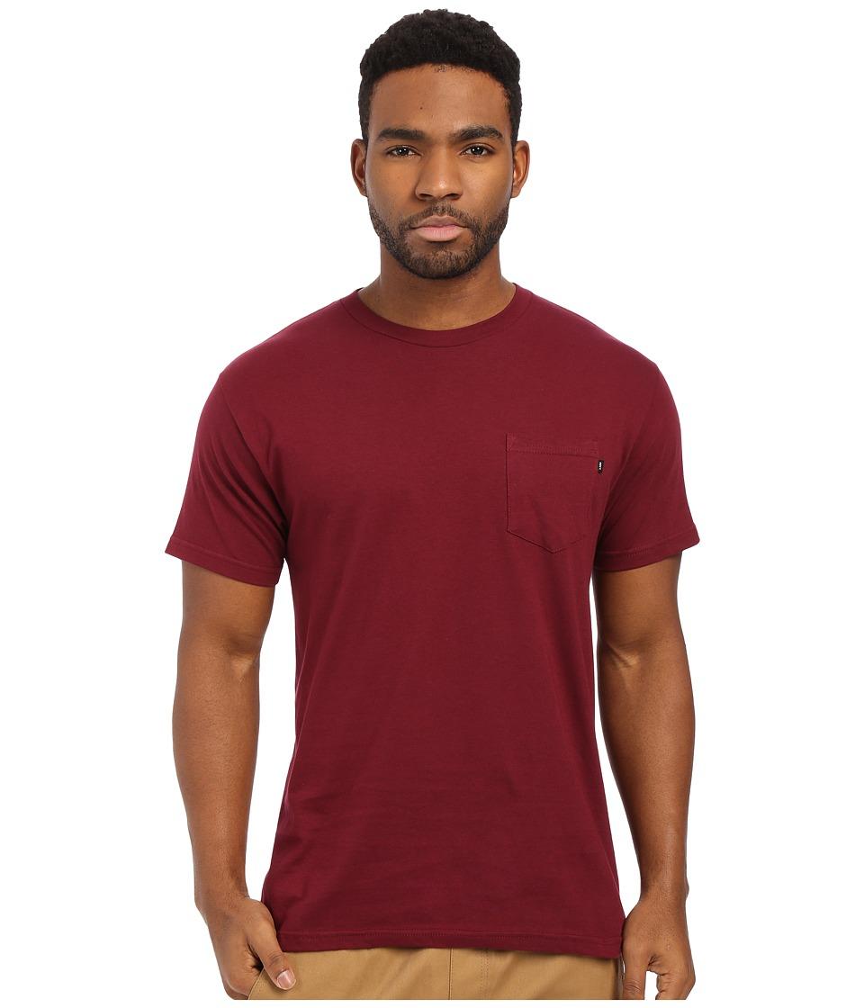Obey Premium Basic Pocket Tee Burgundy Mens Short Sleeve Pullover