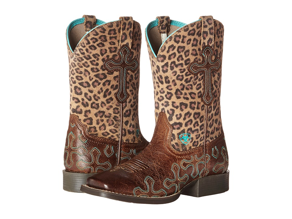 Image of Ariat Kids - Crossroads (Toddler/Little Kid/Big Kid) (Wood/Leopard) Cowboy Boots