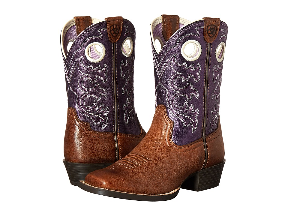 Image of Ariat Kids - Crossfire (Toddler/Little Kid/Big Kid) (Wood/ Sparkin Purple) Cowboy Boots