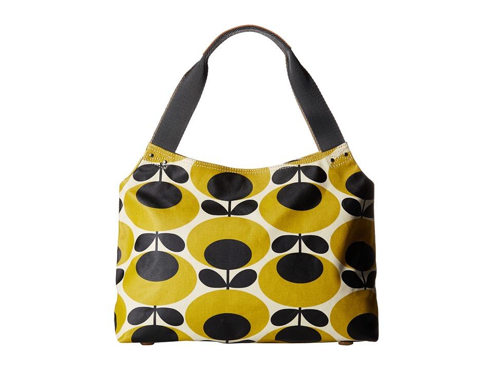 Orla Kiely Classic Zip Shoulder Bag Mustard Shoulder Handbags