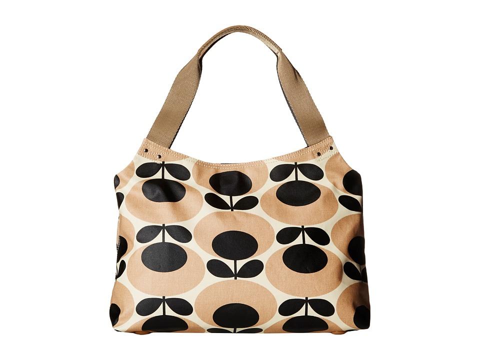 Orla Kiely Classic Zip Shoulder Bag Nude Shoulder Handbags