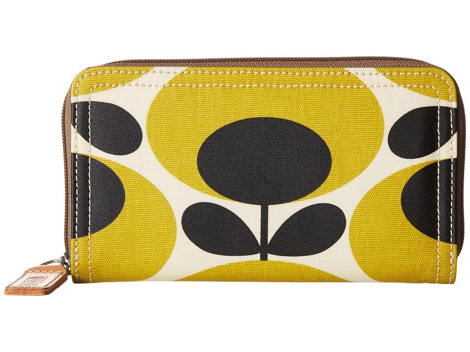 Orla Kiely Big Zip Wallet Mustard Wallet Handbags