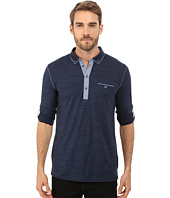 BOSS Orange - Patcherman 1 Jersey Denim Mix Long Sleeve Polo w/ 1-Pocket and Adjustable Sleeves