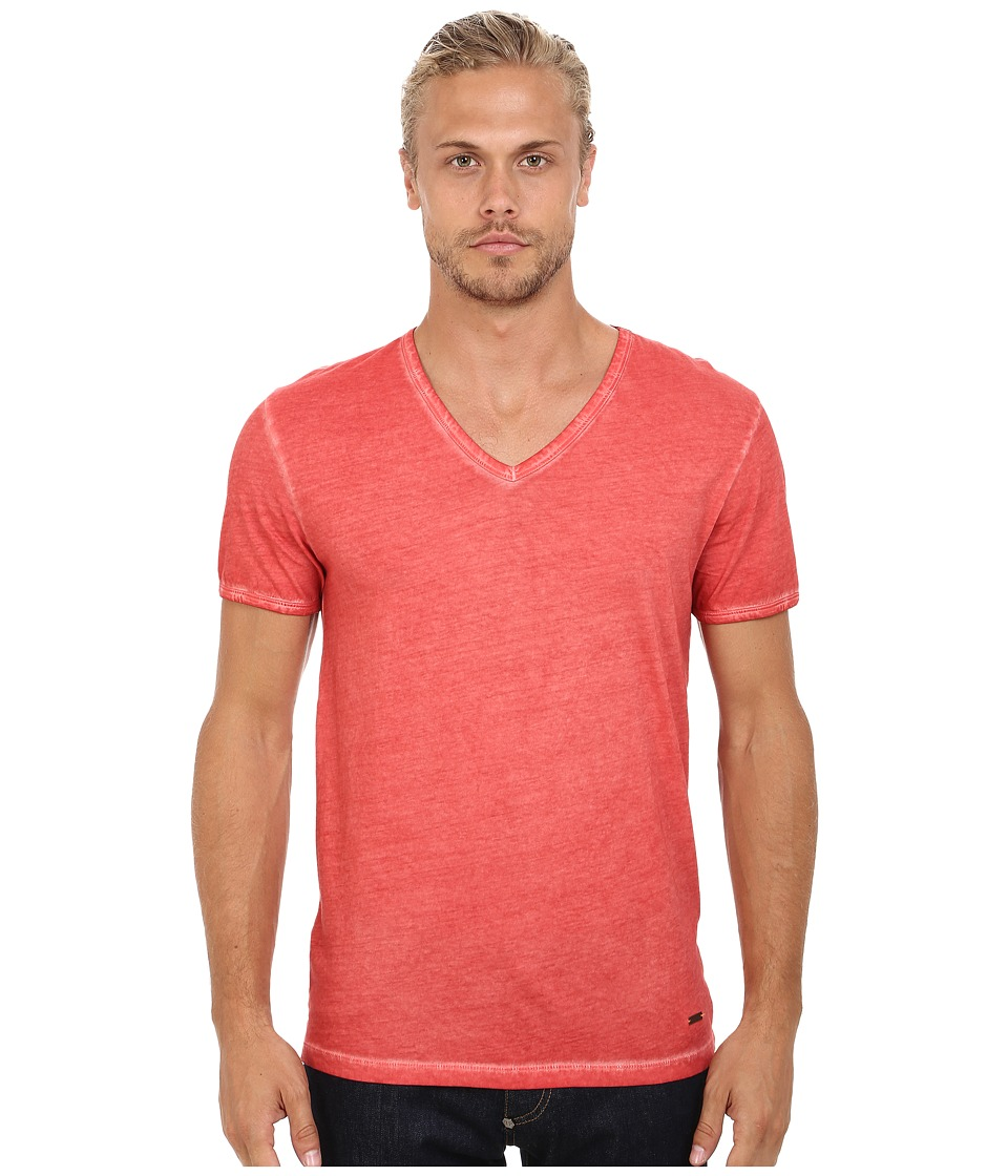 BOSS Orange - Toulouse Garment Dyed Jersey Fashion Fit Short Sleeve V-Neck Tee (Bright Red) Men