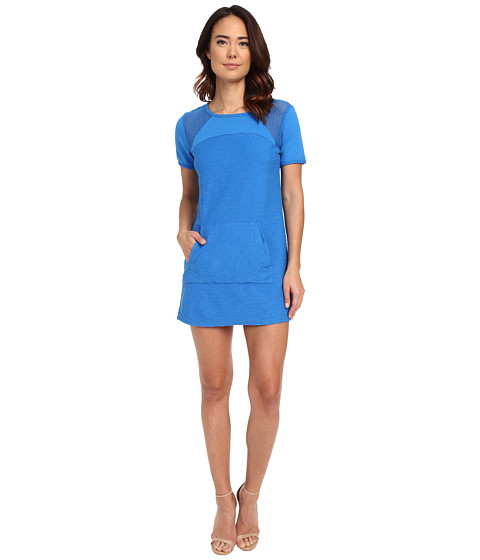 Michael Stars Park Place French Terry Short Sleeve Dress w/ Mesh