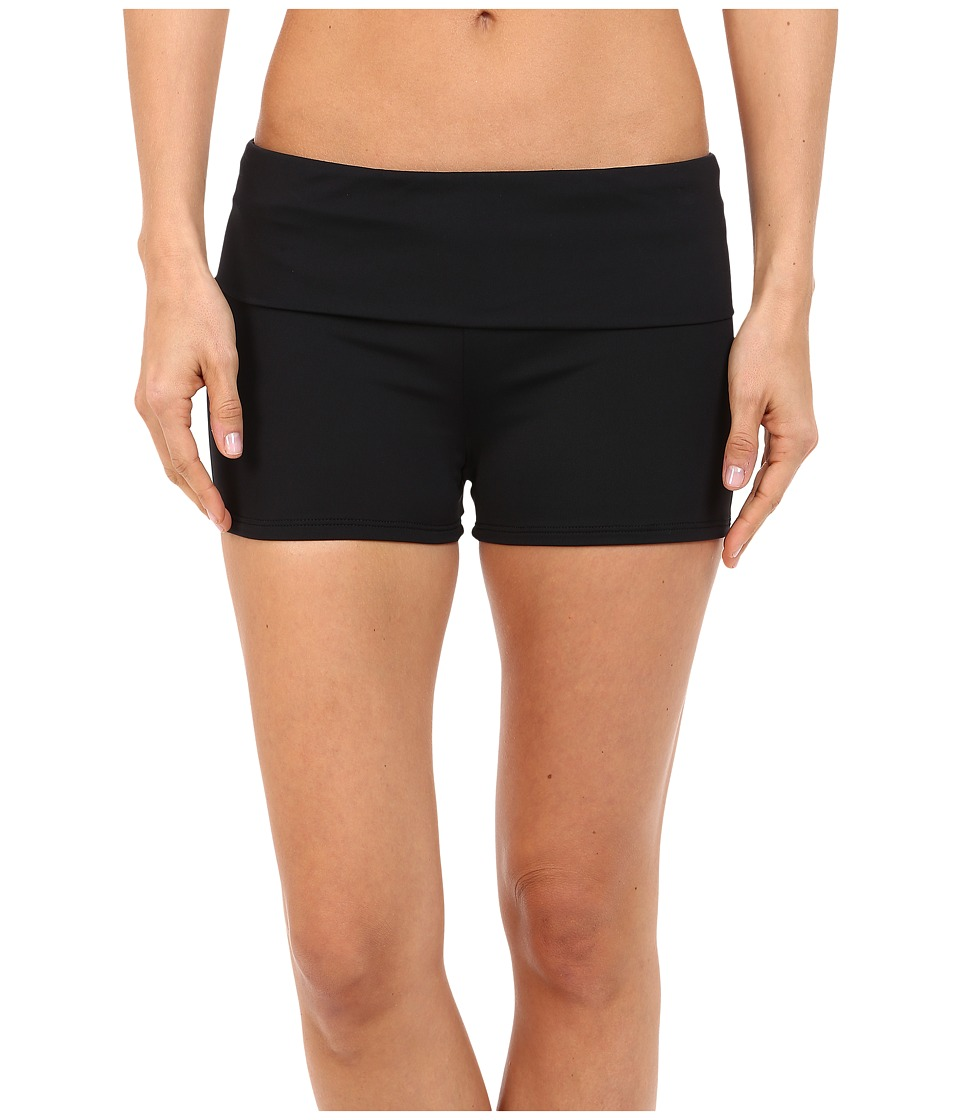 La Blanca - Island Goddess Fold-Over Boyshorts (Black) Womens Swimwear