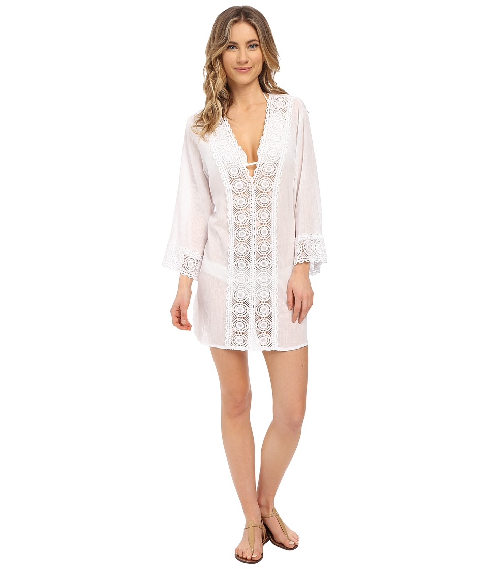 La Blanca Island Fare V-Neck Tunic Cover-Up (White) Women...