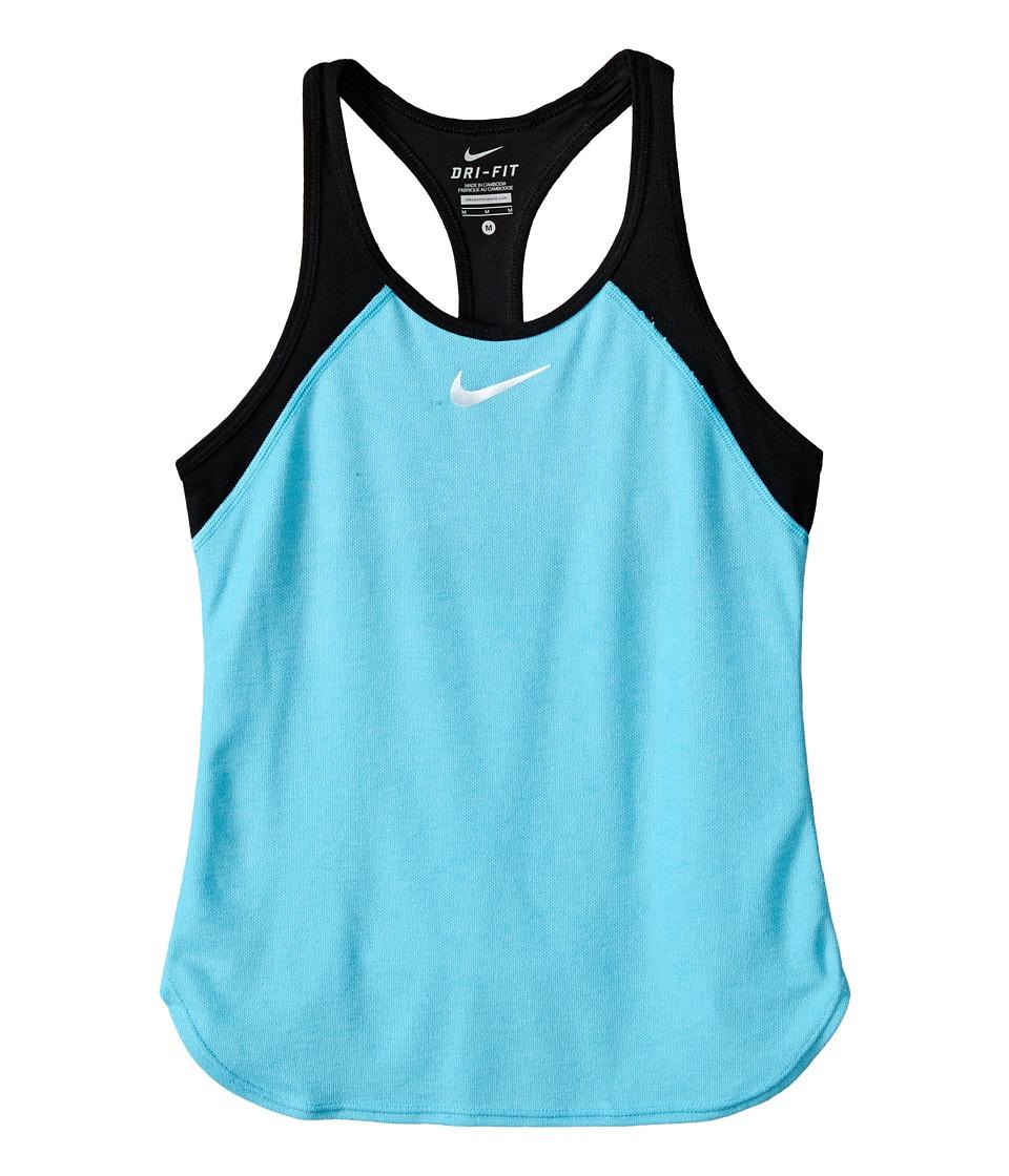 Nike Kids Court Slam Tennis Tank Top Little Kids/Big Kids Omega Blue/Black/White Girls Sleeveless