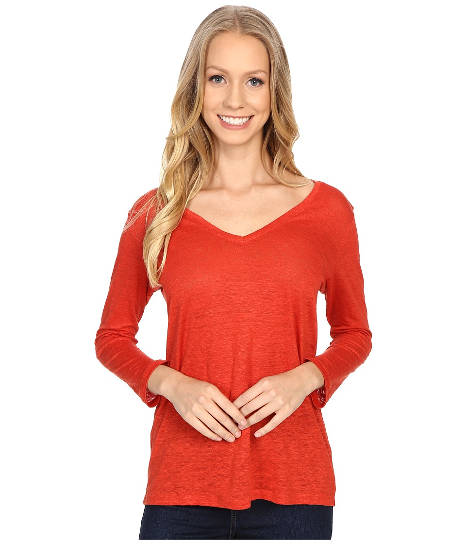 Pendleton 3/4 Sleeve V Neck Tee Cayenne Womens Long Sleeve Pullover