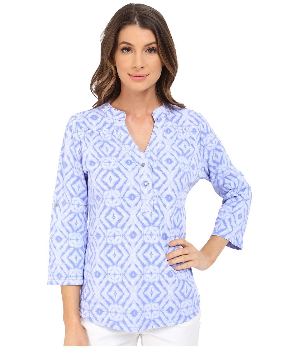 Fresh Produce Shibori Dockside Henley Peri Blue Womens Long Sleeve Pullover