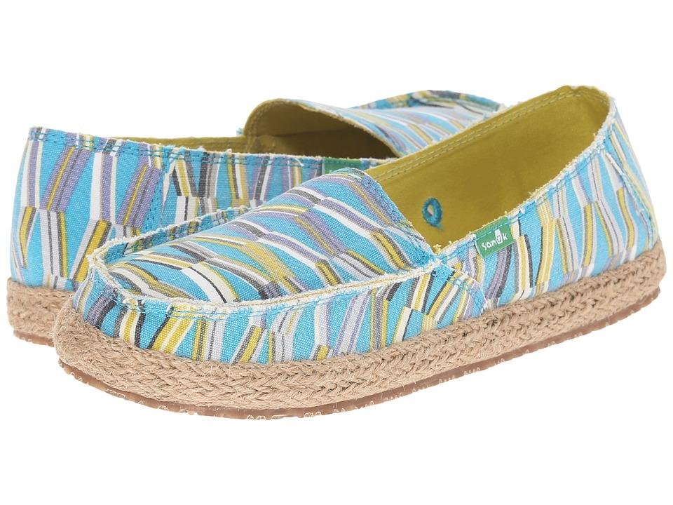 Sanuk Funky Fiona Blue/Green Mod Geo Womens Slip on Shoes